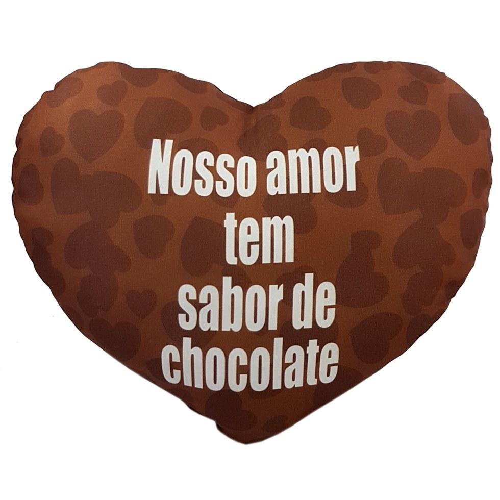 Almofada Coracão Com Frase Fragância Chocolate 36x44